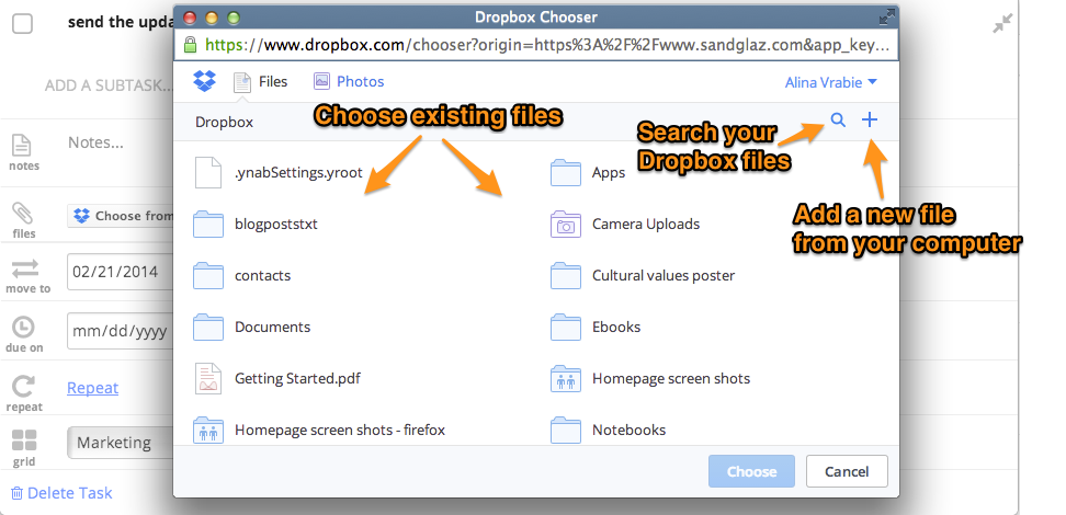 attach file dropbox sandglaz