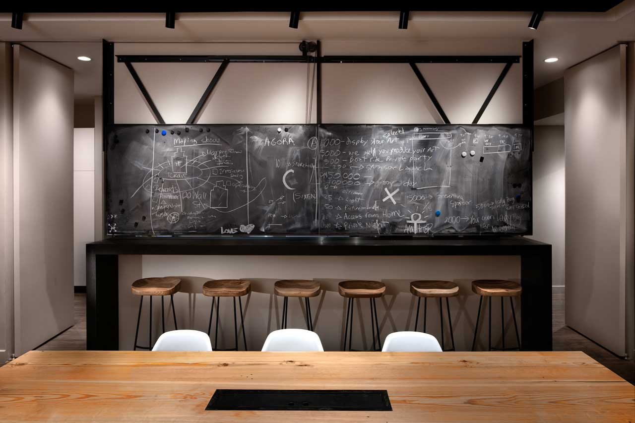 ICRAVE office layout kitchen chalkboard