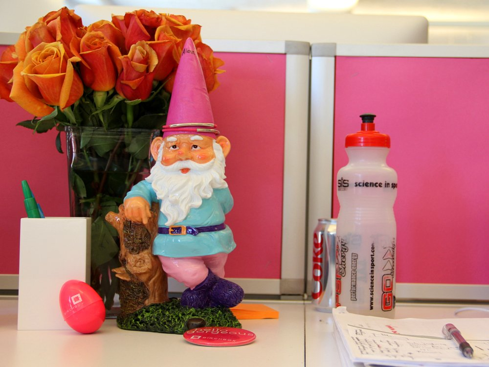 Birchbox office pink gnome employee of the month