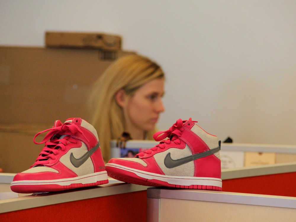 Birchbox office pink sneakers